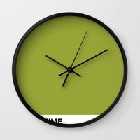 vegan Wall Clocks featuring VEGAN POWER by Gabriela Fuente