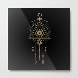 Mandala Tribal Eye Copper Bronze Gold Metal Print