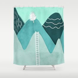 Modern turquoise abstract mountains watercolor cut out climb illustration Shower Curtain