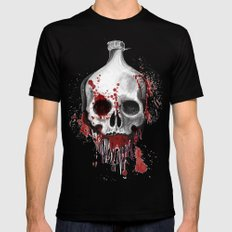 Alcohol bottle in death skull. Black Mens Fitted Tee MEDIUM