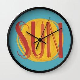 Hot Sun on Blue Sky Wall Clock