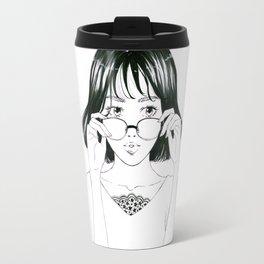 Girl in glasses Travel Mug
