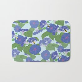 Glory Bee - Vintage Floral Morning Glories and Bumble Bees Bath Mat