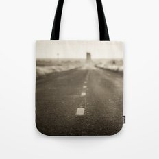 Route 66 Road Trip - Black and White Dawn at Midpoint Adrian Texas Tote Bag