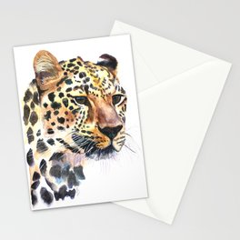 Leopard Watercolour Painting Print by Bonnie Dixson, Art, Animal Art, Home Decor Stationery Cards