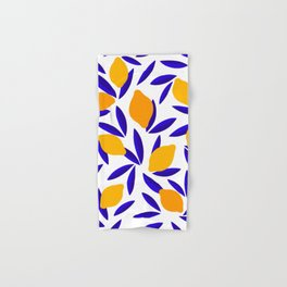 Blue and yellow Lemon Summery Pattern Hand & Bath Towel