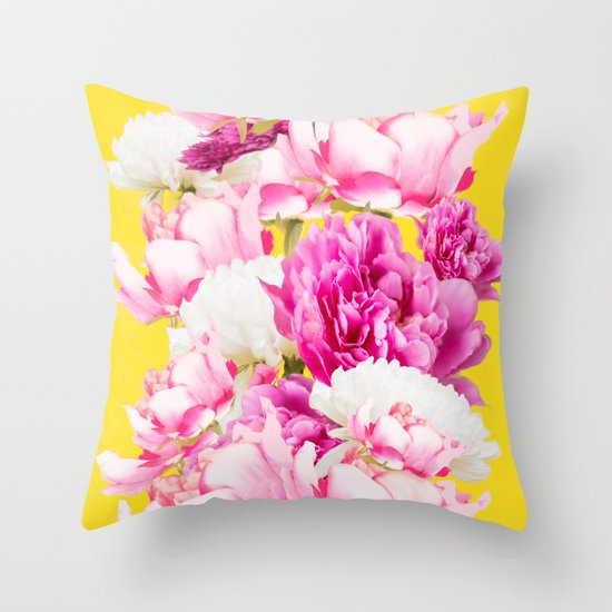 Beauties of nature - large pink flowers on a yellow background Throw Pillow by Paivi Vikstrom ...