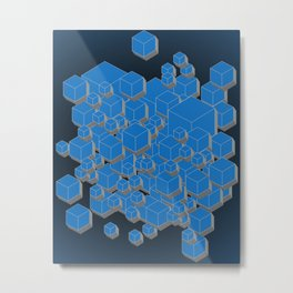 3D Futuristic Cubes IV Metal Print