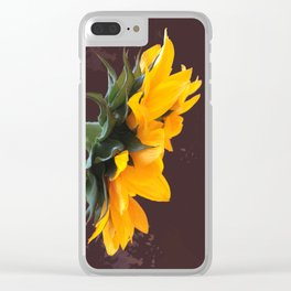 Sunflower Power-Up Clear iPhone Case