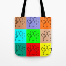 Puppy Paws In Squares Tote Bag