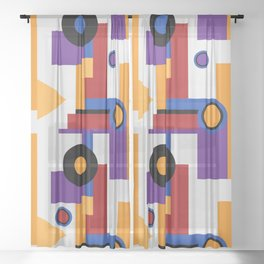 Bauhaus shapes and modern colors Sheer Curtain
