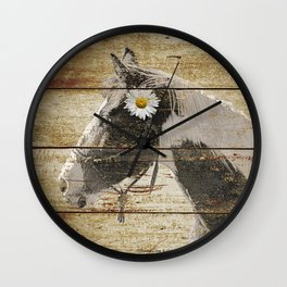 Daisy Flower on Rustic Brown Cream Horse Country Barn Art A166 Wall Clock