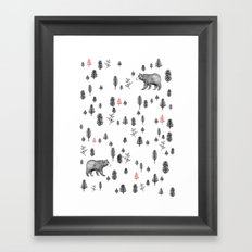 In the forest pattern - Bears and trees Framed Art Print