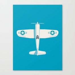 F4U Corsair Fighter Aircraft - Cyan Canvas Print