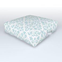 Scroll Damask Lg Pattern Duck Egg Blue on White Outdoor Floor Cushion