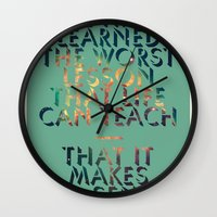 literary Wall Clocks featuring Literary Quote Poster — American Pastoral by Philip Roth by Evan Beltran