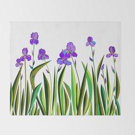 Large Purple Irises Throw Blanket
