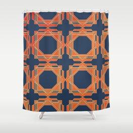 Blue & Orange Fretwork Shower Curtain