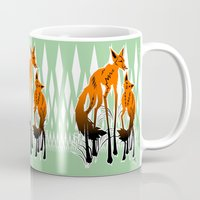 foxes Mugs featuring Foxes by AmKiLi