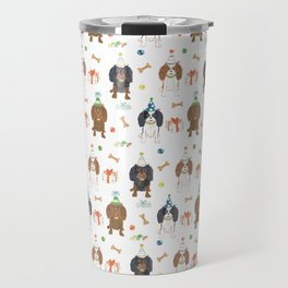 Cavalier King Charles Dog Breed Birthday Party Pattern Pet Portrait Dog Lover Travel Mug