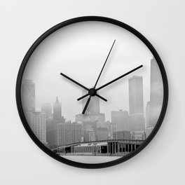 Foggy Chicago Skyline Wall Clock
