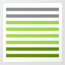 Stripes Gradient - Green Art Print