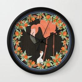 Flamingo wreath Wall Clock