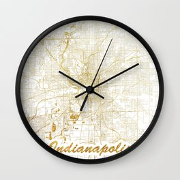 Indianapolis Map Gold Wall Clock