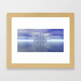 Fractal Snowflake - Sky and Sea Framed Art Print