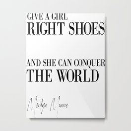 Gift For Her, Bedroom Decor, Wall Art, Shoes Poster, Shoes Quote Metal Print