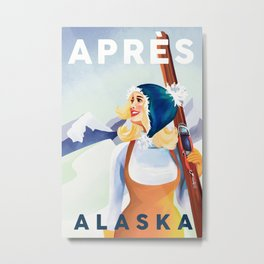 """Apres Ski Alaska"" Cool Retro Pin Up Girl Skiing. Vintage Sports Design Metal Print"