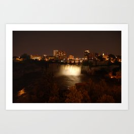 High Falls at Night White Art Print
