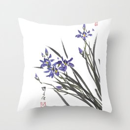 Blue Iris Orchid One Throw Pillow