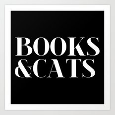 Books&Cats - Black and White (inverted) Art Print