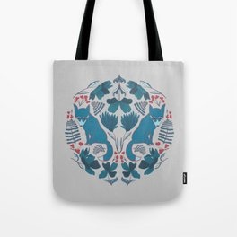 Blue Folk Foxes With Modern Botanicals and Red Accents Tote Bag