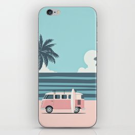 Surfer Graphic Beach Palm-Tree Camper-Van Art iPhone Skin