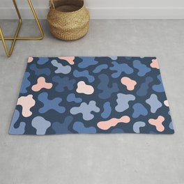 Blue Pink Organic Shapes Abstract Pattern Rug