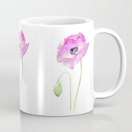 Flower Purple Poppy Floral Watercolor Coffee Mug