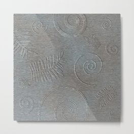 Graphic Grey Leaf and Spiral Shell Fossil Shapes Metal Print