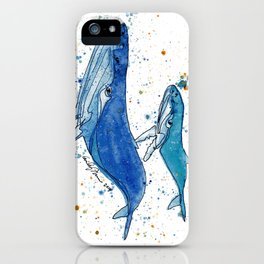 Whale Mommy and Baby iPhone Case