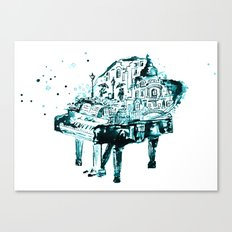 Piano, black and blue Canvas Print