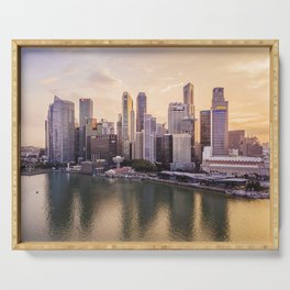 City of Singapore at sunset Serving Tray