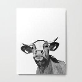 Cow photo | Black and white Metal Print