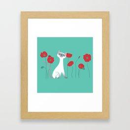 Siamese & Poppies Framed Art Print