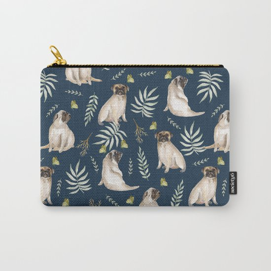 Pugs and butterflies. Blue pattern Carry-All Pouch