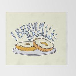 I Believe in Bagels Throw Blanket