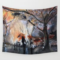 autumn Wall Tapestries featuring Autumn rain - watercolor by Nicolas Jolly