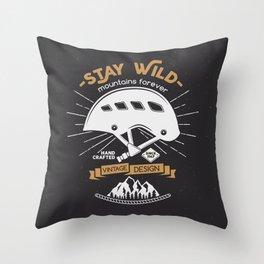 Stay Wild. Adventure Illustration Throw Pillow