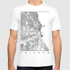 Chicago Map Schwarzplan Only Buildings MEDIUM White Mens Fitted Tee