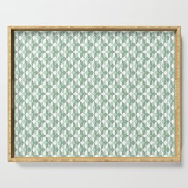 Abstract geometrical  forest mint green white pattern Serving Tray